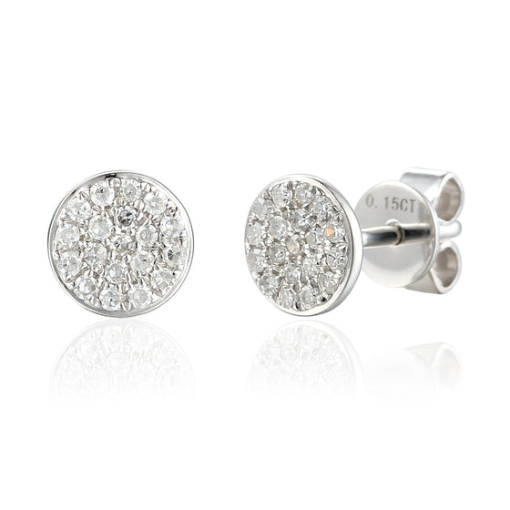 18ct White Gold Pave Circle Geometric Stud Earrings