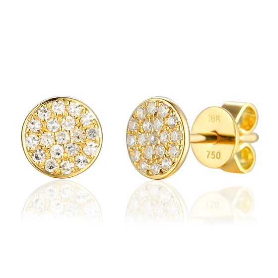 18ct Yellow Gold Pave Circle Geometric Stud Earrings