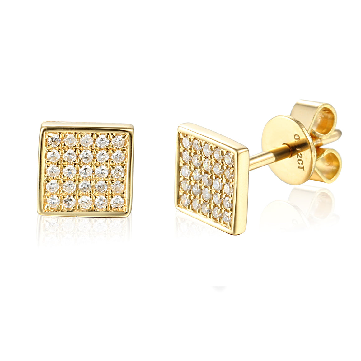 18ct yellow Gold Pave Diamond Set Square Stud Geometric Earrings