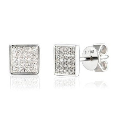 White Gold Pave Diamond Set Square Stud Geometric Earrings