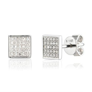 Yellow Gold Pave Diamond Set Square Stud Geometric Earrings