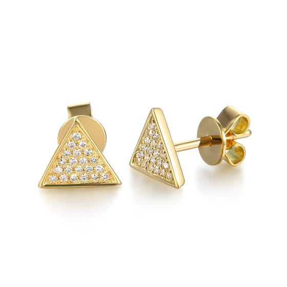 18ct Yellow Gold Pave Triangle Diamond Stud Earrings