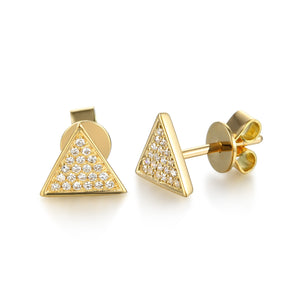 Yellow Gold Pave Triangle Diamond Stud Earrings