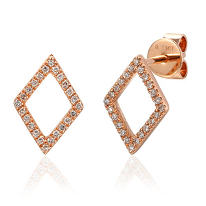 Yellow Gold Open Diamond Shape Diamond Set Geometric Stud Earrings
