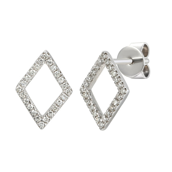 18ct White Gold Open Diamond Shape Diamond Set Geometric Stud Earrings