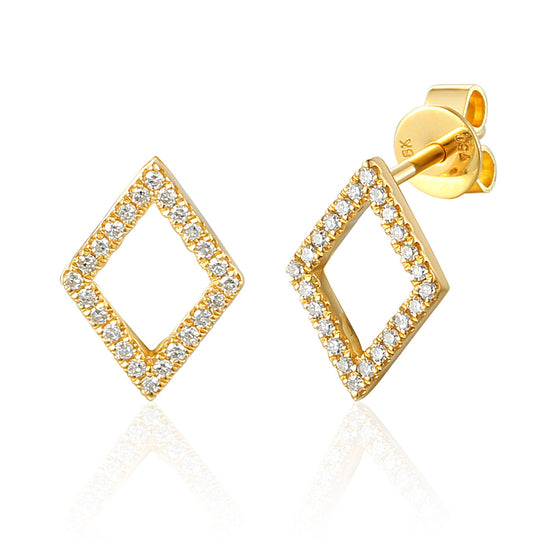 18ct Yellow Gold Open Diamond Shape Diamond Set Geometric Stud Earrings