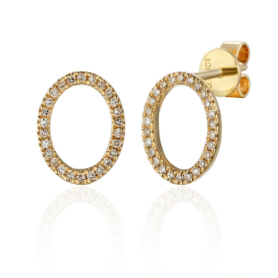 18ct Yellow Gold Open Oval Pave Diamond Stud Geometric Earrings