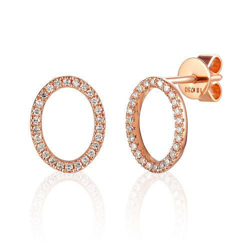 18ct Rose Gold Open Oval Pave Diamond Geometric Stud Earrings