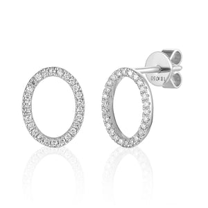 Yellow Gold Open Oval Pave Diamond Stud Geometric Earrings