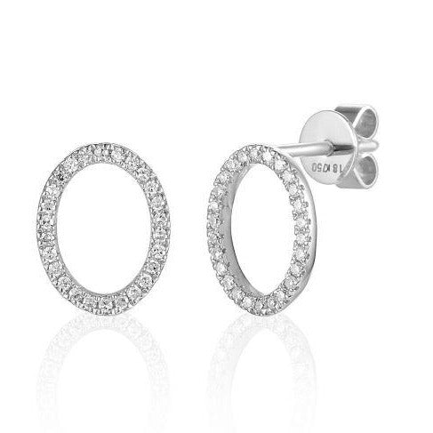 18ct White Gold Open Oval Pave Diamond Geometric Stud Earrings