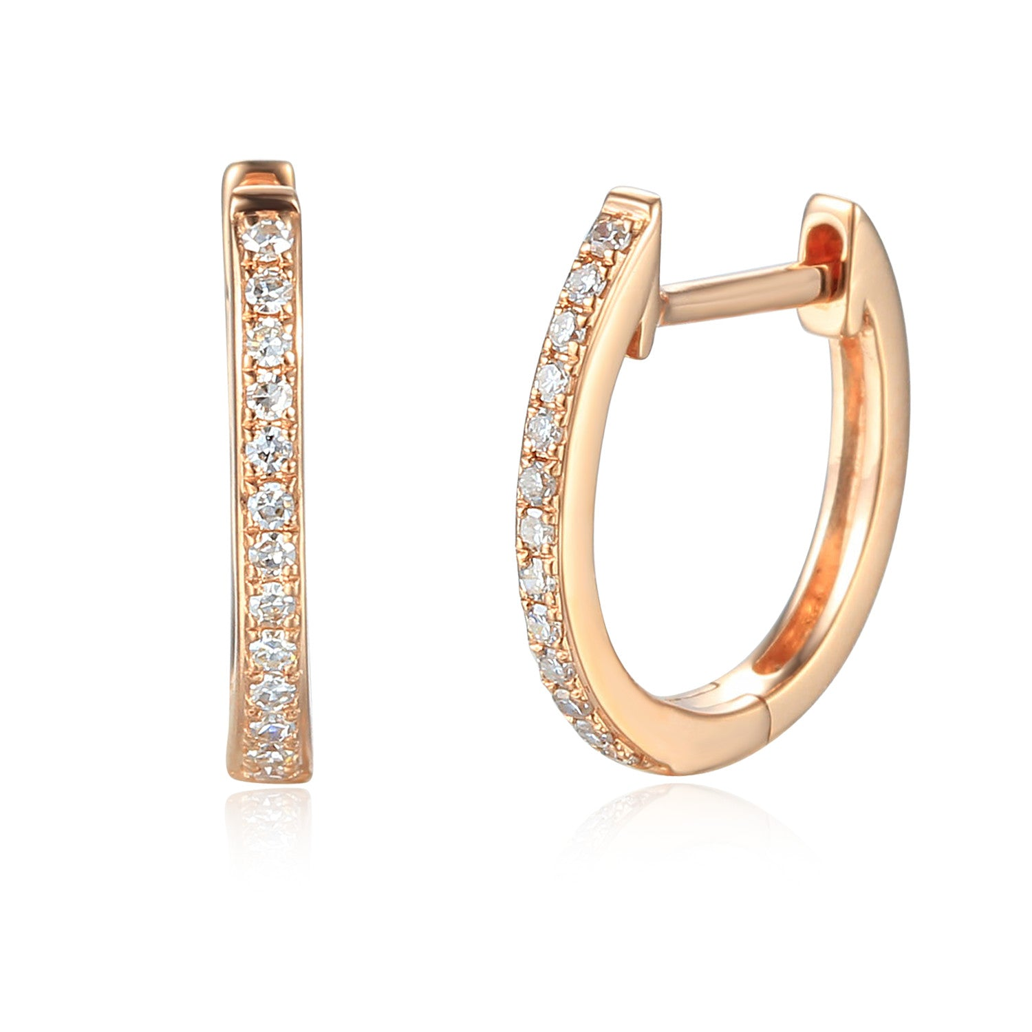 18ct Rose Gold Diamond Sleeper Hoop