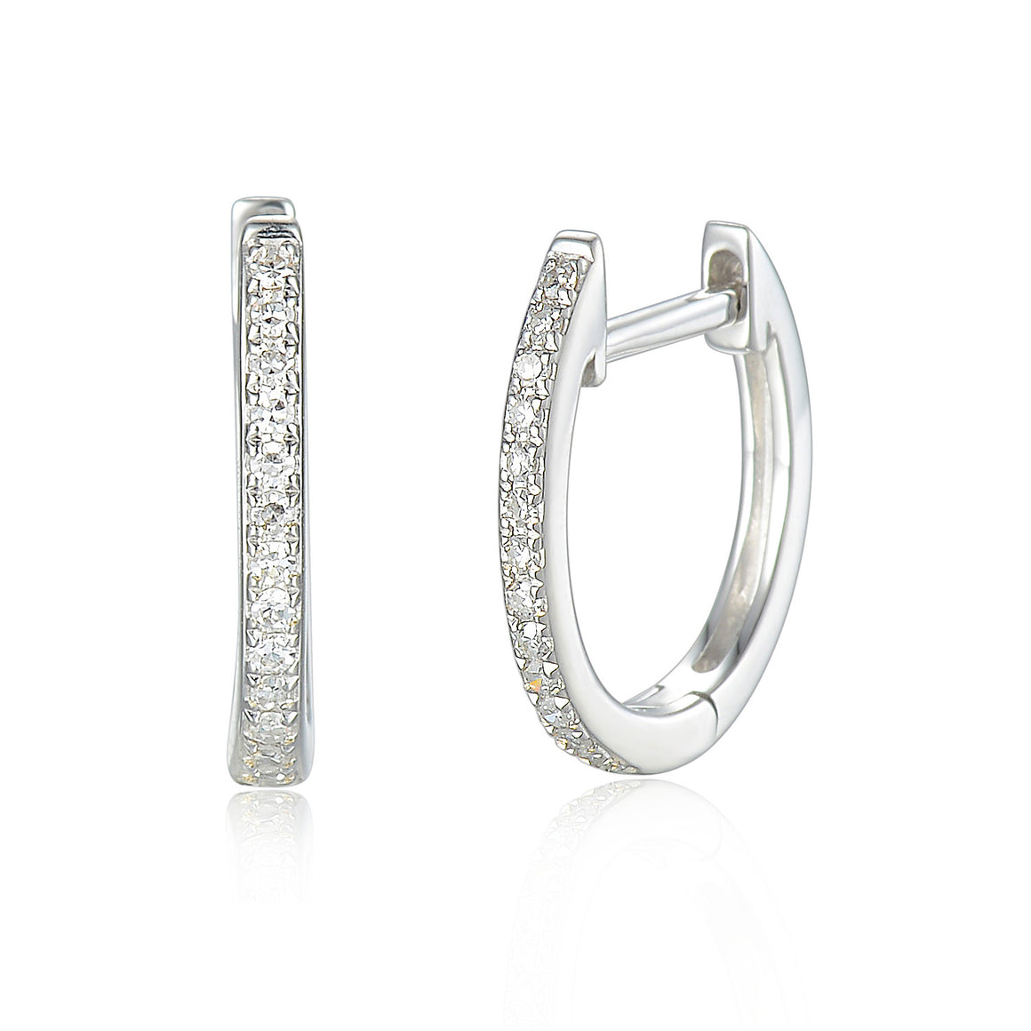 18ct White Gold Diamond Sleeper Hoop With Hanging Interchangeable Square Charm