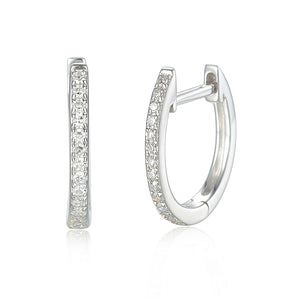 18ct White Gold Diamond Sleeper Hoop With Hanging Interchangeable Octagon Charm