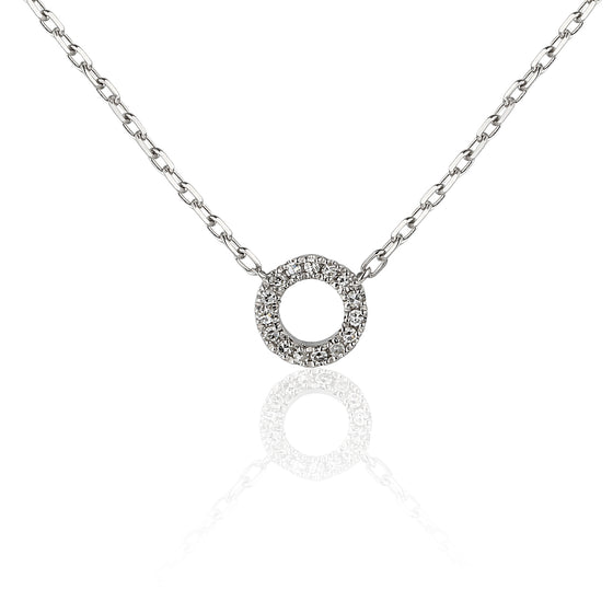 18ct White Gold & Diamond Small Open Circle Geometric Necklace