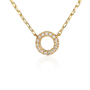Yellow Gold & Diamond Small Open Circle Geometric Necklace