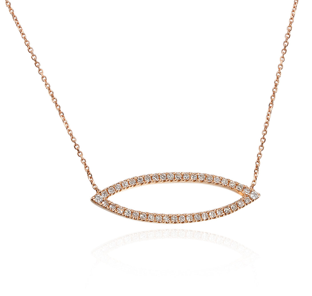 Rose Gold Diamond Set Marquise Geometric Necklace