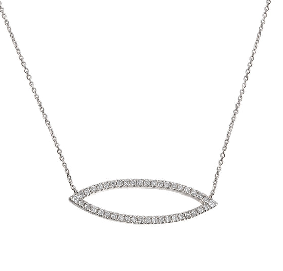 18ct White Gold Diamond Set Marquise Geometric Necklace