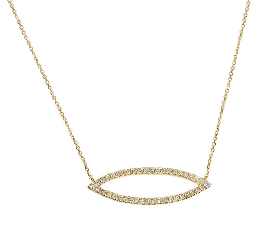 18ct Yellow Gold Diamond Set Marquise Geometric Necklace