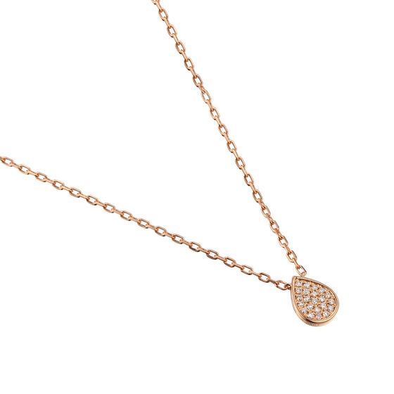 Rose Gold & Diamond Small Pave Pear Shape Geometric Necklace
