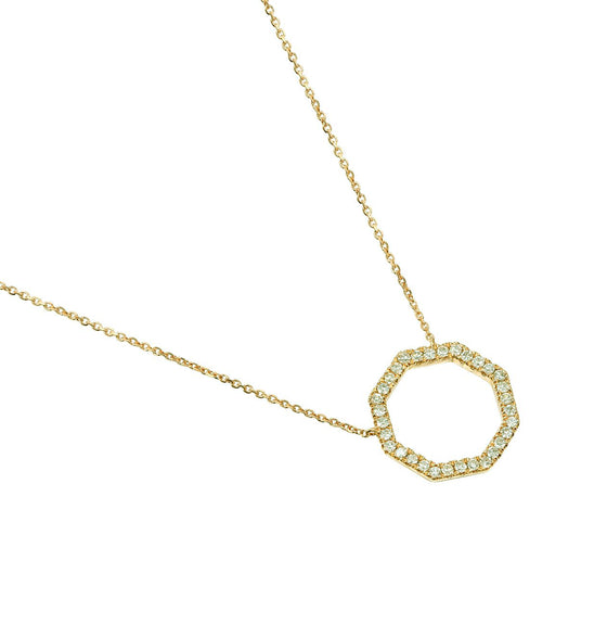 18ct Yellow Gold Diamond Set Octagon Geometric Necklace