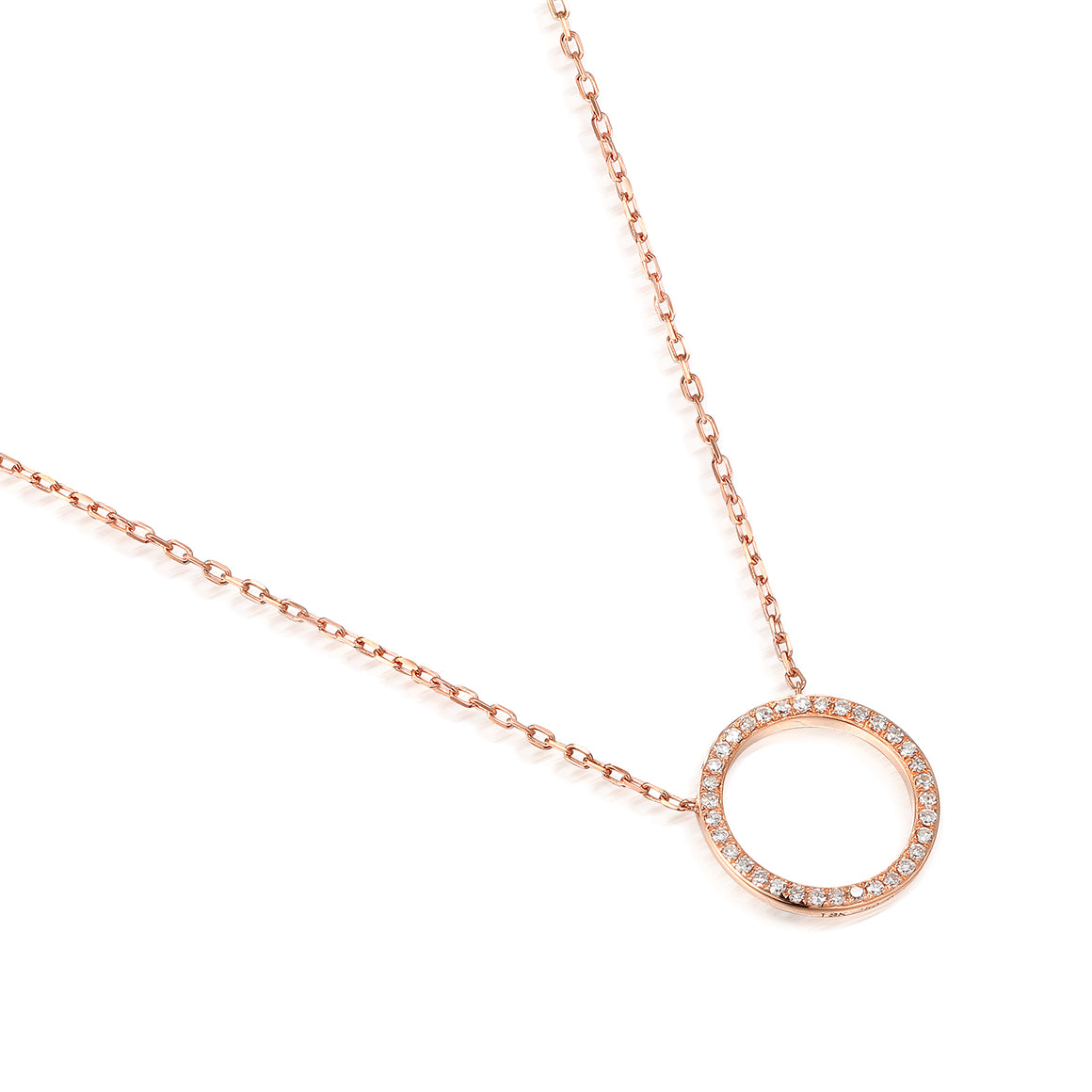 18ct Rose Gold Open Circle Diamond Geometric Necklace