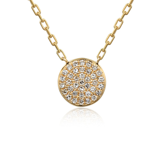 18ct Yellow Gold Pave Set Geometric Diamond Circle Necklace