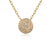 Yellow Gold Pave Set Geometric Diamond Circle Necklace
