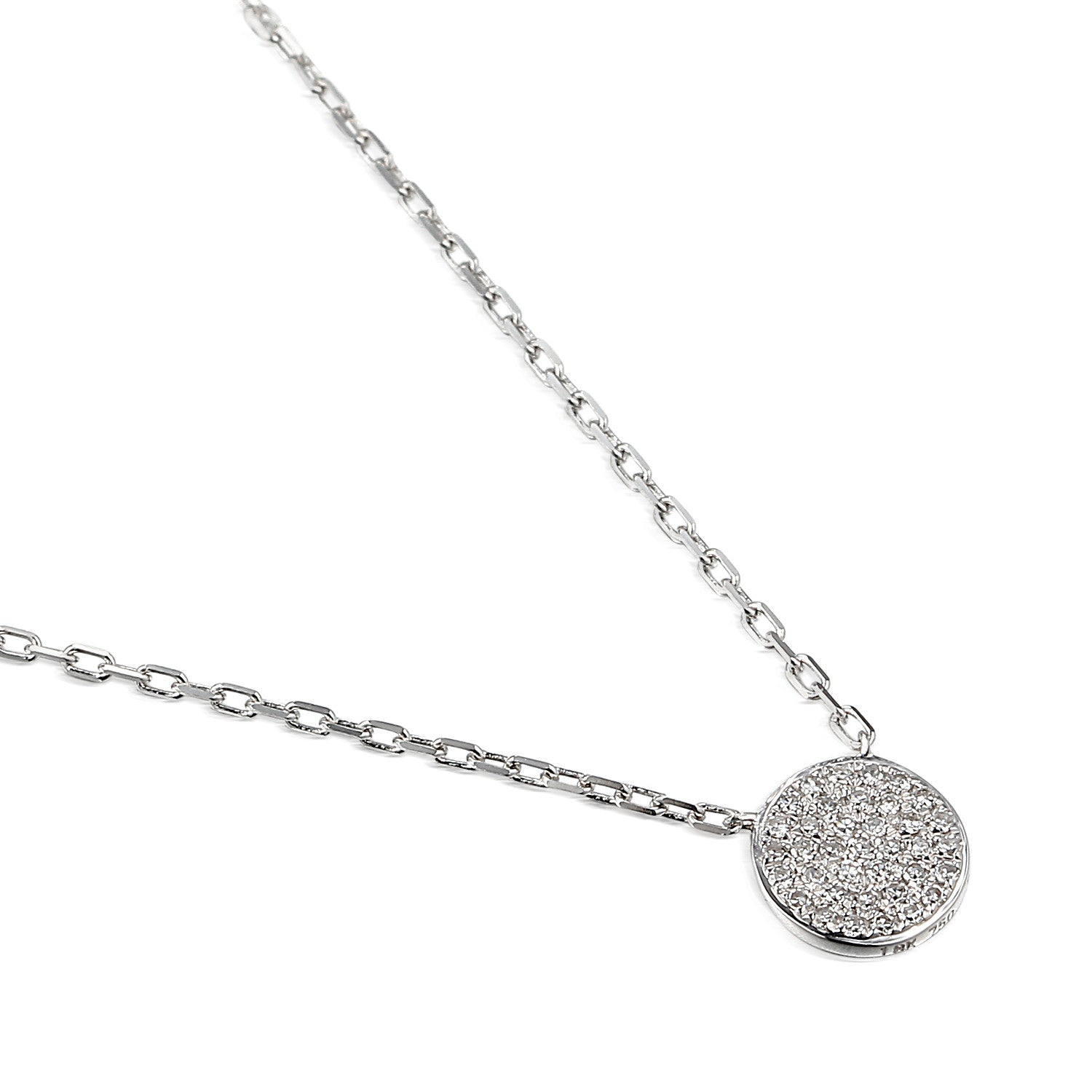 White Gold Pave Set Geometric Diamond Circle Necklace