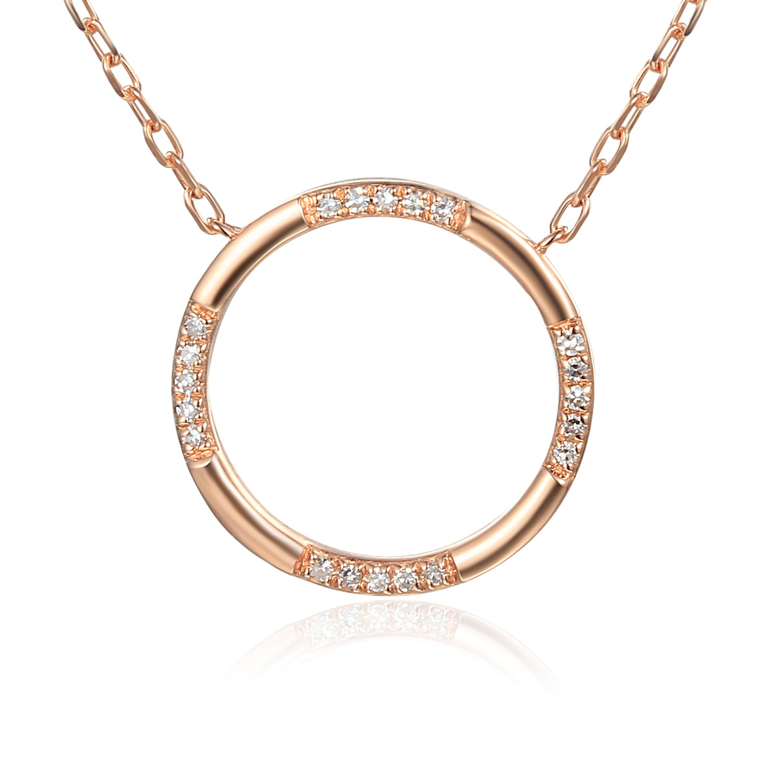 Rose Gold Scattered Diamond Open Circle Geometric Necklace