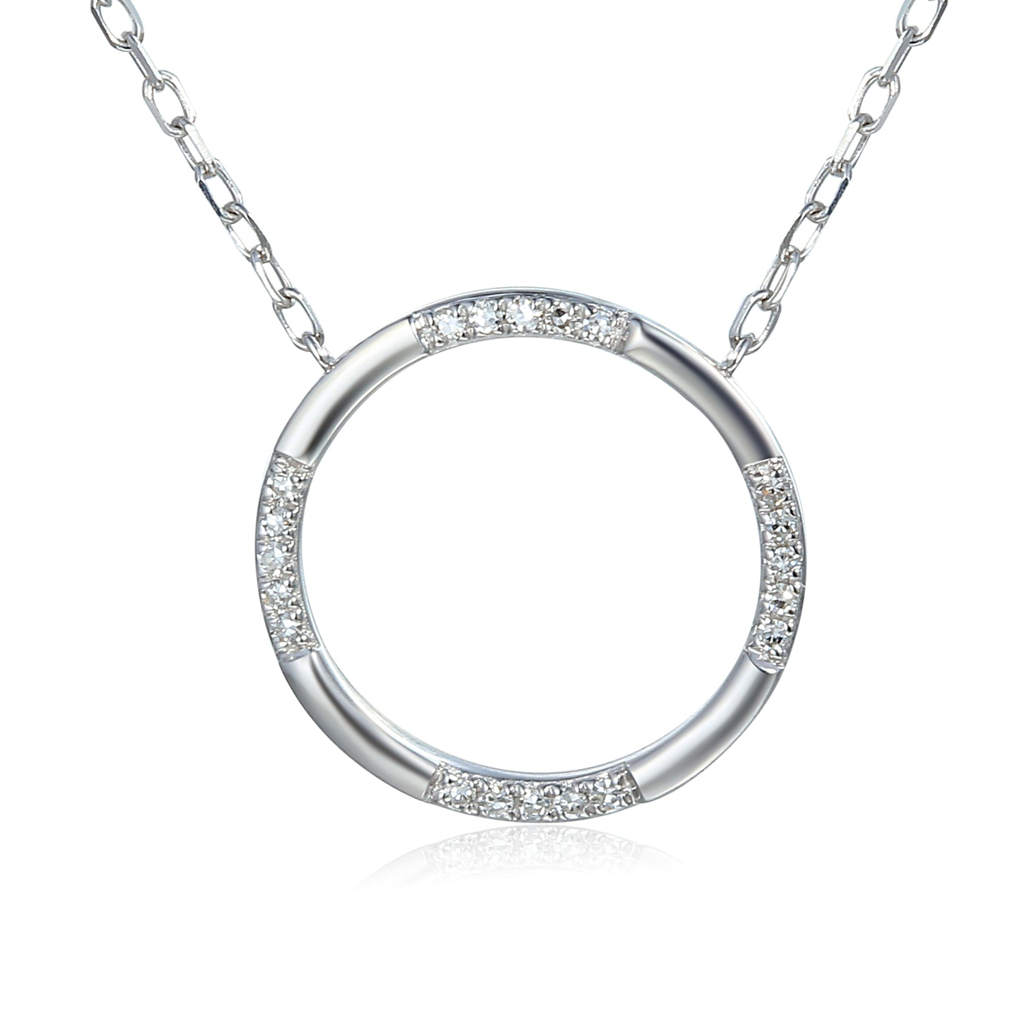 White Gold Scattered Diamond Open Circle Geometric Necklace
