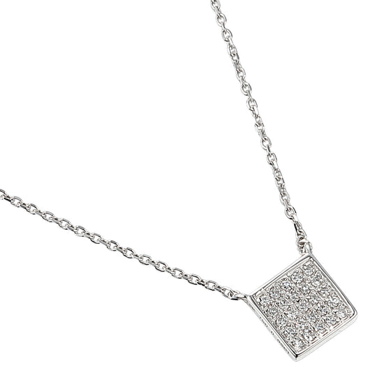 18ct White Gold Diamond Pave Square Geometric Necklace