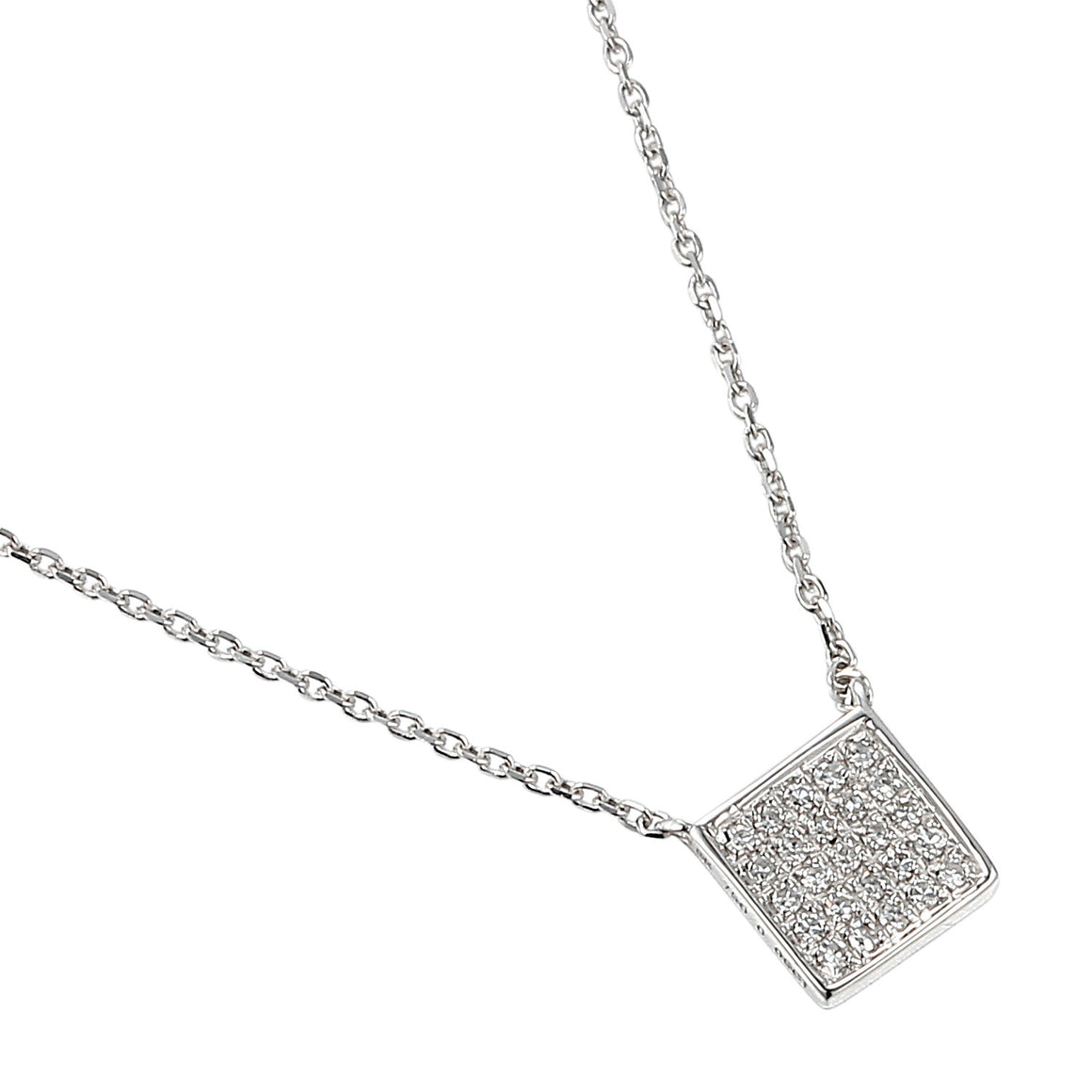 White Gold Diamond Pave Square Geometric Necklace