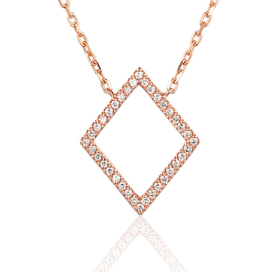 18ct Rose Gold Diamond Set Diamond Shape Geometric Necklace