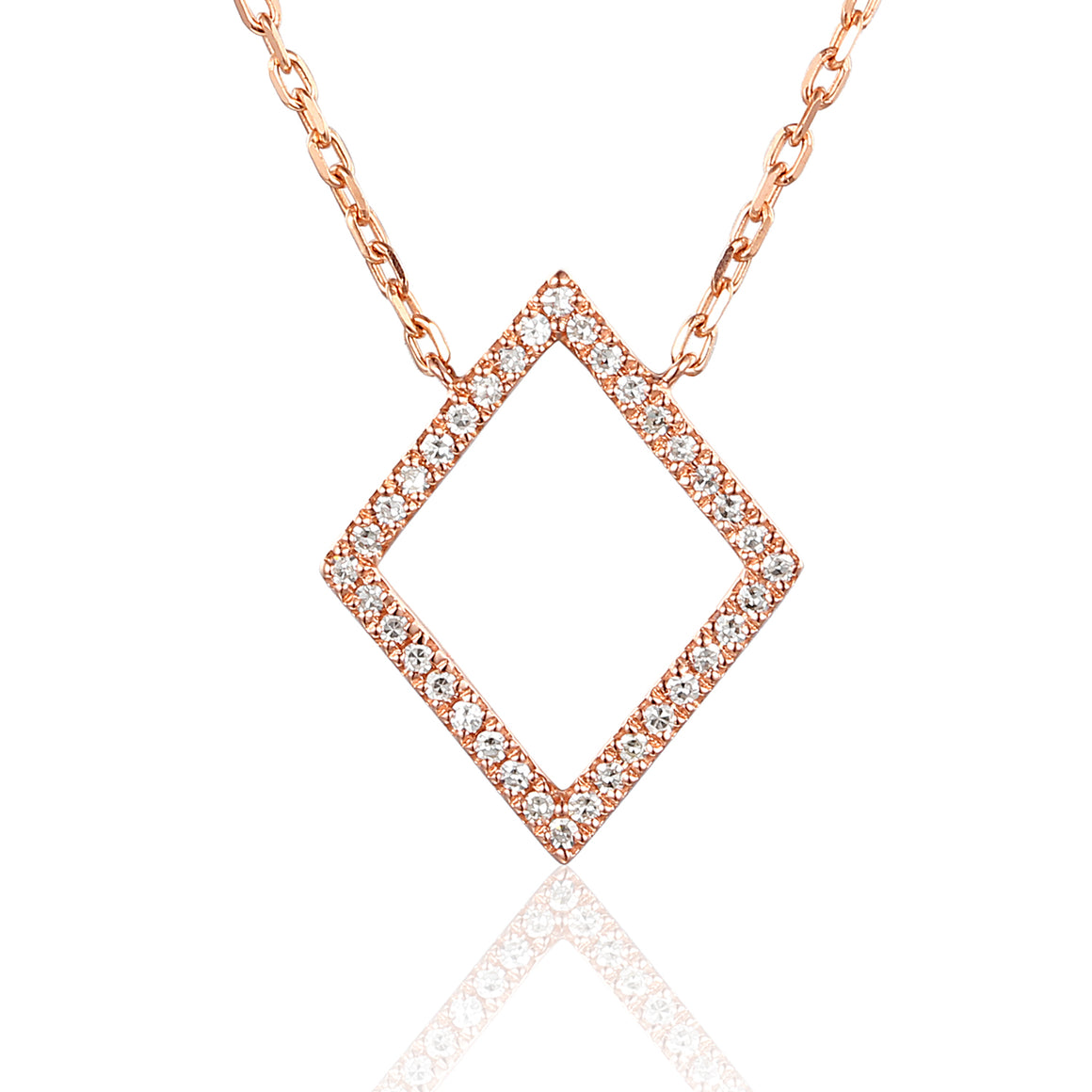 Rose Gold Diamond Set Diamond Shape Geometric Necklace