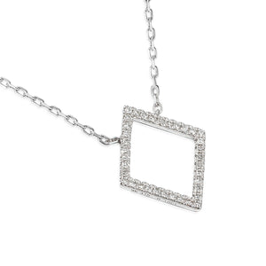 White Gold Diamond Set Diamond Shape Geometric Necklace