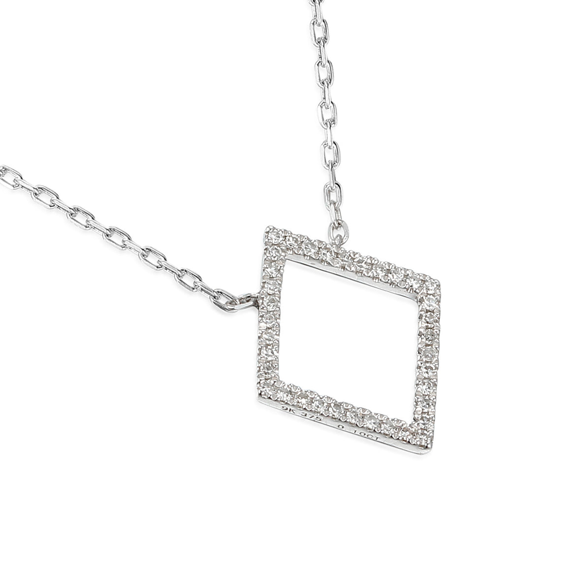 18ct White Gold Diamond Set Diamond Shape Geometric Necklace