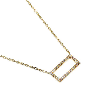 Yellow Gold Open Pave Diamond Rectangle Necklace