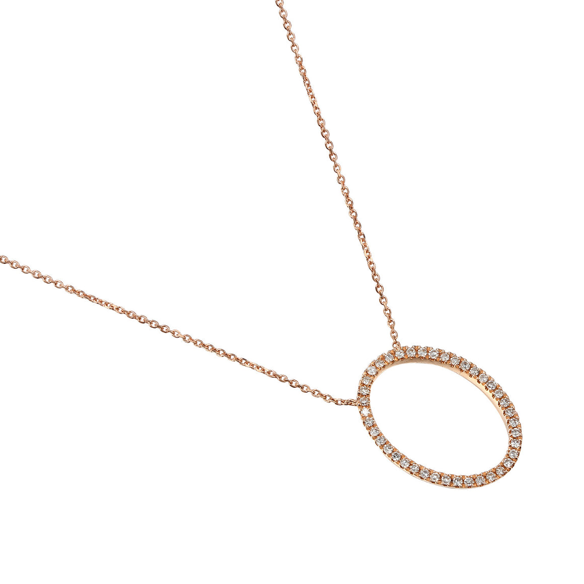 18ct Rose Gold Diamond Set Open Oval Diamond Necklace