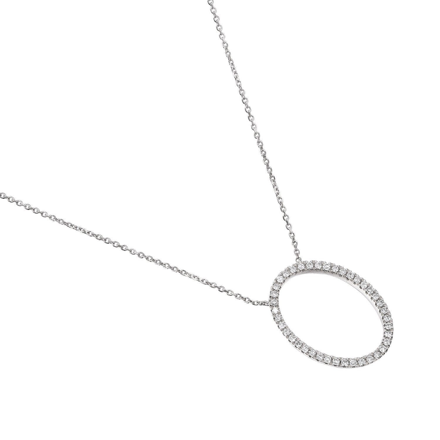 White Gold Diamond Set Open Oval Diamond Necklace