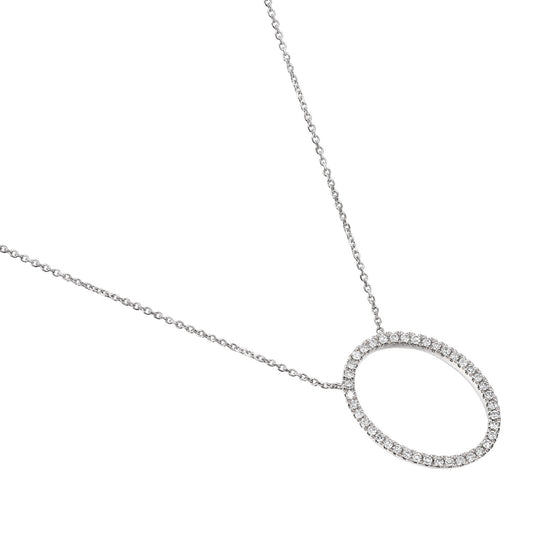 18ct White Gold Diamond Set Open Oval Diamond Necklace