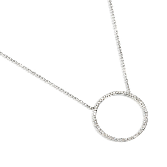 18ct White Gold Large Pave Diamond Open Circle Geometric Necklace