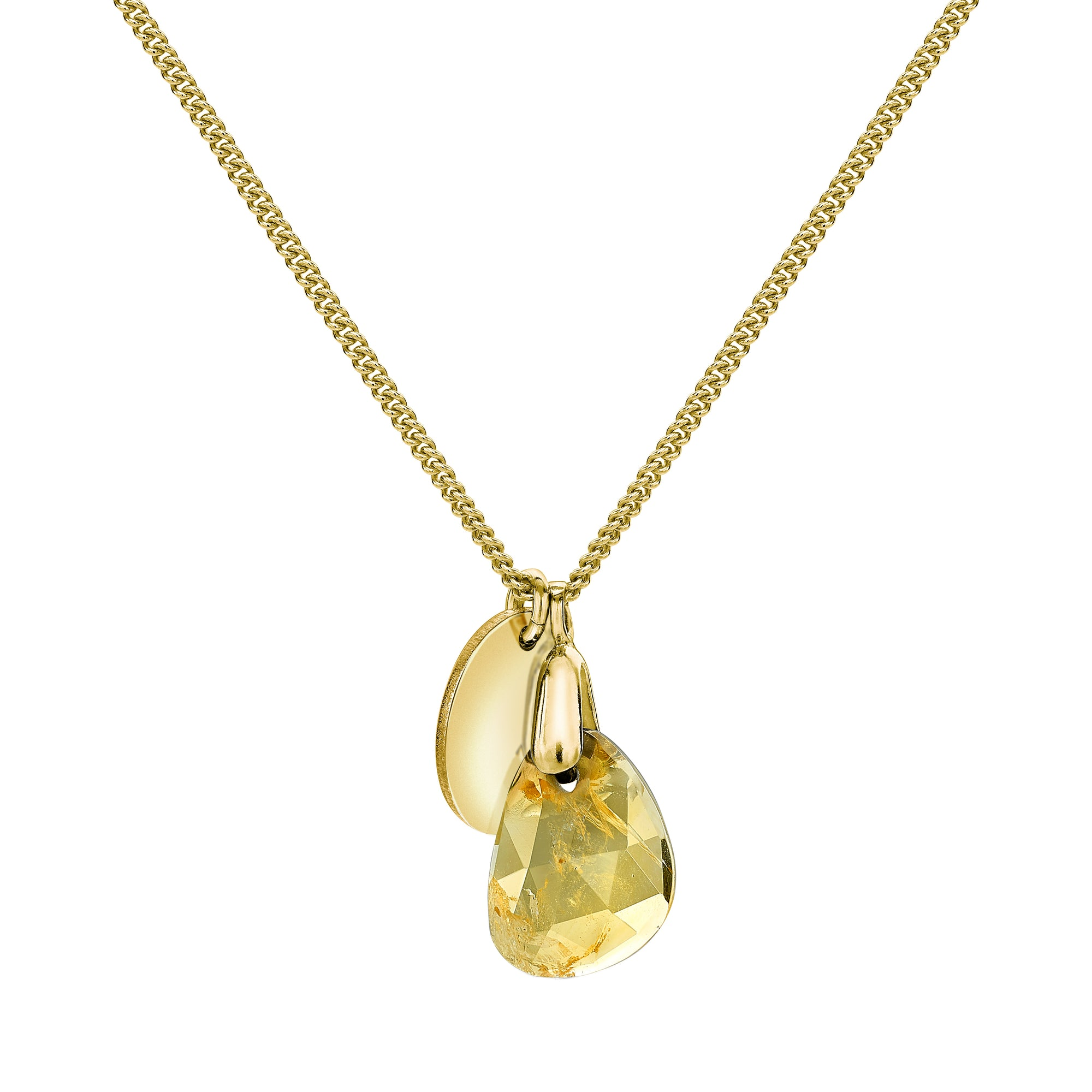 Aura Citrine Rose Cut Gold Plate Necklace