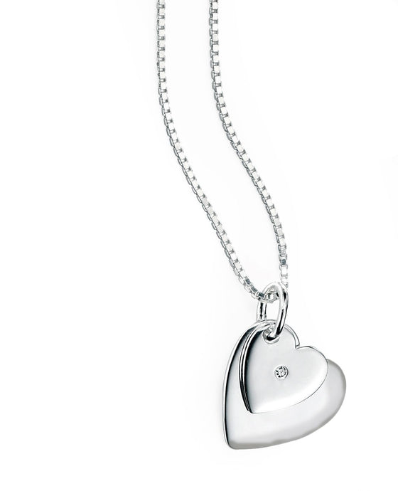 D for Diamond Silver Double Heart Pendant
