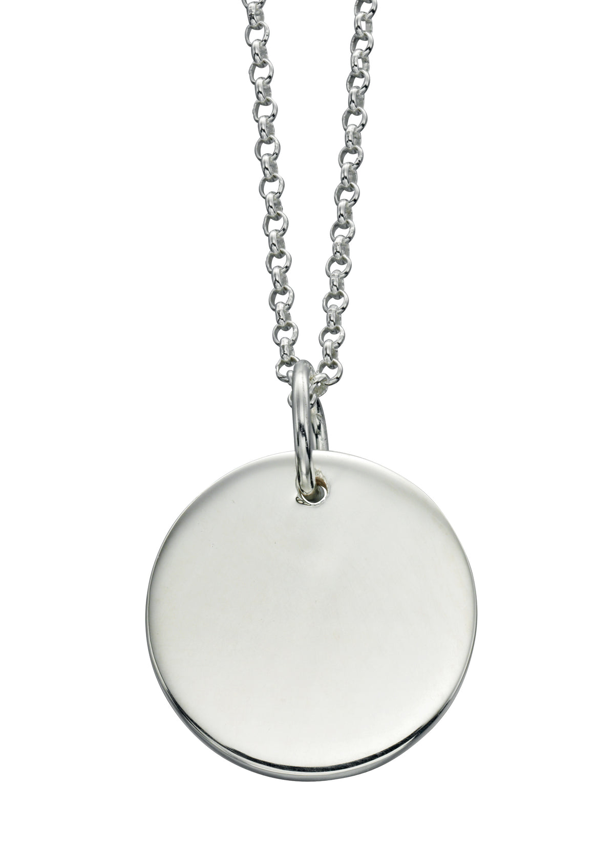 Sterling Silver Solid Plain Disc Pendant