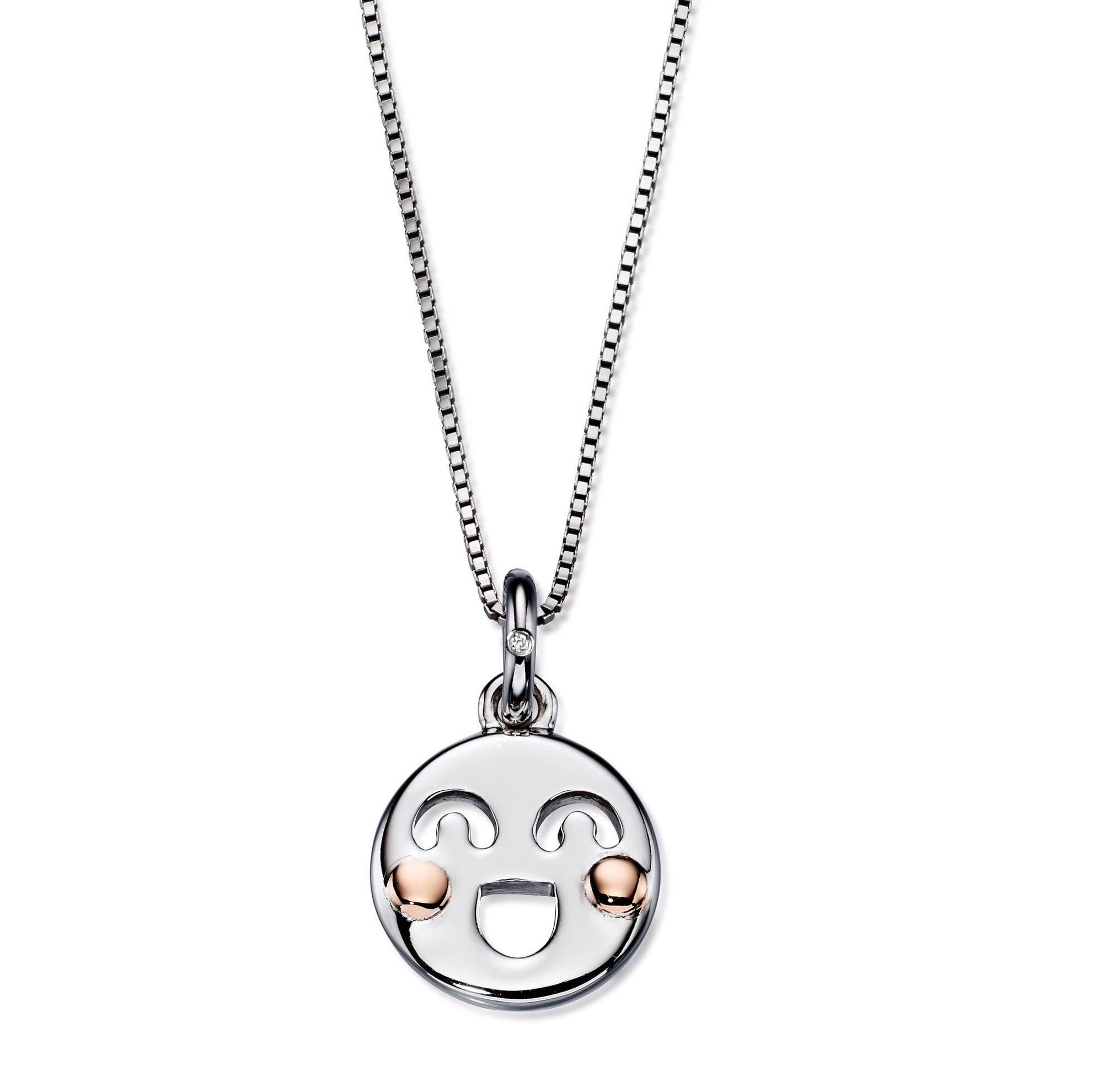 D for Diamond Rose and White Emoji Necklace