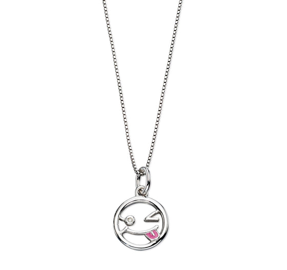 D for Diamond Emoji Pink Enamel Necklace