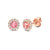 October Birthstone Pink Tourmaline and Diamond Cluster Rose Gold studs