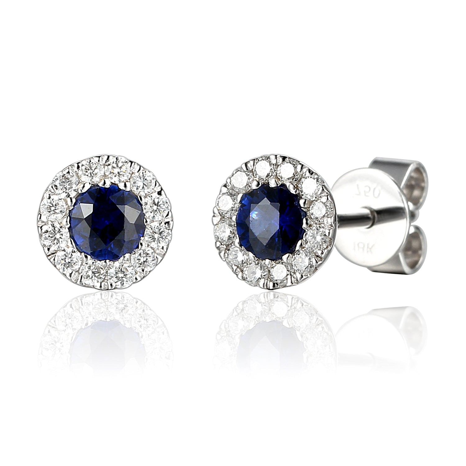 September Birthstone Sapphire and Diamond Cluster 9ct gold studs