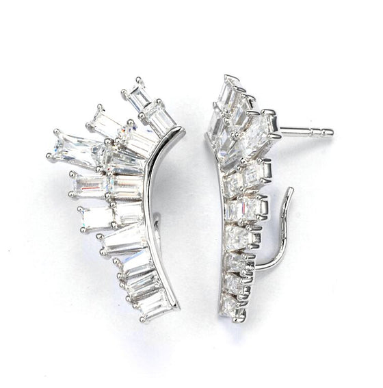 V Jewellery Baguette Lobe Earrings