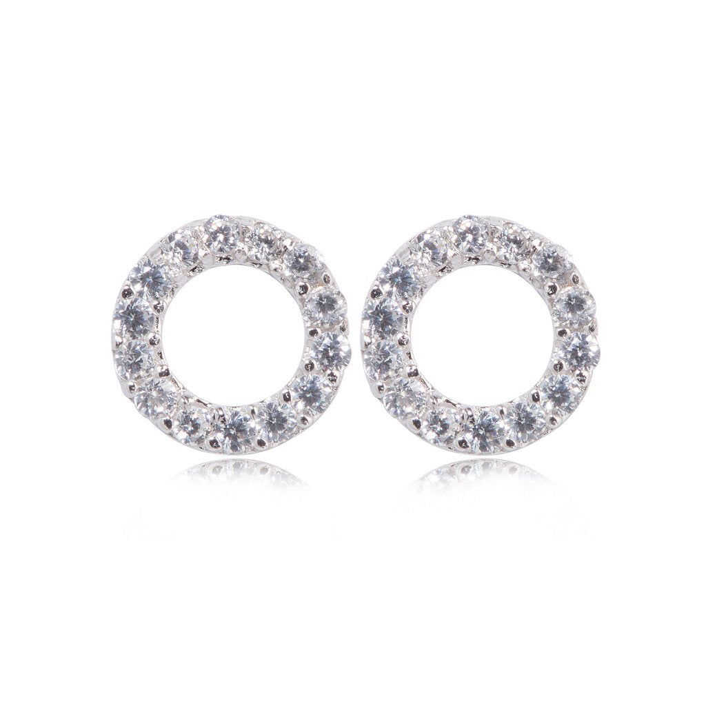 Sterling Silver Crystal Open Circle Earrings